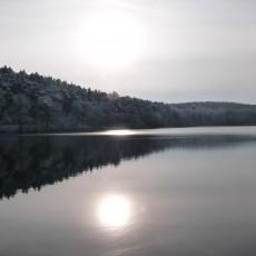 Sonnenspiegelung auf den Heideseen